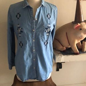Denim button up long sleeve Medium